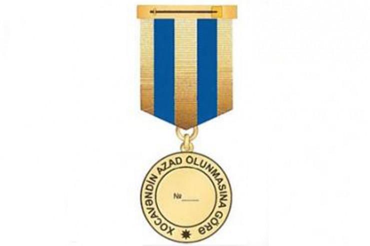 """Bir qrup hərbi qulluqçu """"Xocavəndin azad olunmasına görə"""" medalı ilə təltif edildi"""
