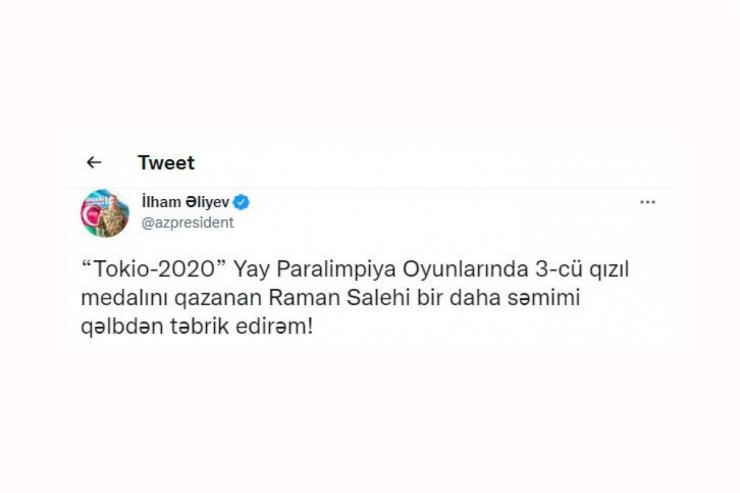 Prezident Raman Salehini təbrik edib